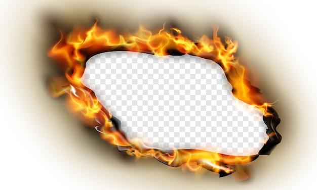 Spalony Papier Wpływa Na Płonące Czerwone Iskry Realistyczny Ogień Płomienie Streszczenie Tło Premium Wektorów