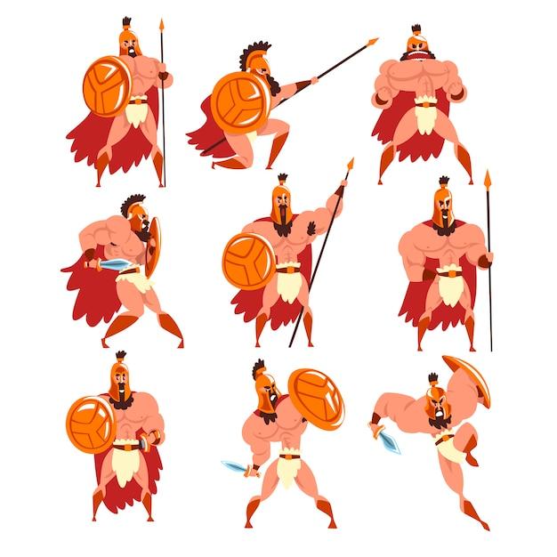Spartańscy Wojownicy W Złotej Zbroi I Czerwonej Pelerynie, Ilustracje Starożytnych żołnierzy Premium Wektorów