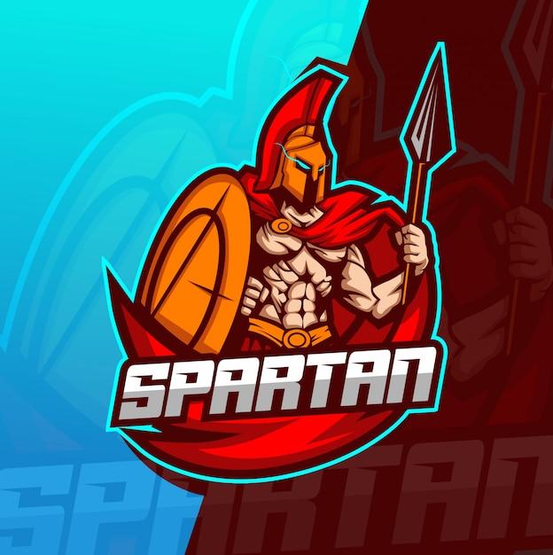 Spartańskie logo e-mail maskotka szablon Premium Wektorów