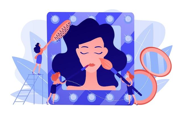 Specjaliści Wykonujący Zabiegi Kosmetyczne Na Twarz I Włosy Kobiety. Salon Kosmetyczny, Gabinet Kosmetyczny, Koncepcja Profesjonalnych Zabiegów Kosmetycznych. Różowawy Koralowy Bluevector Ilustracja Na Białym Tle Darmowych Wektorów