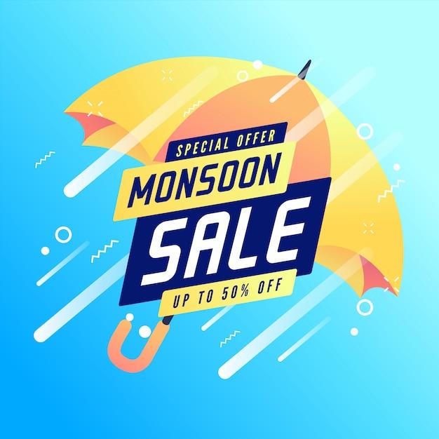 Specjalna Oferta Monsoon Sprzedaż Do 50% Zniżki Na Banner. Premium Wektorów