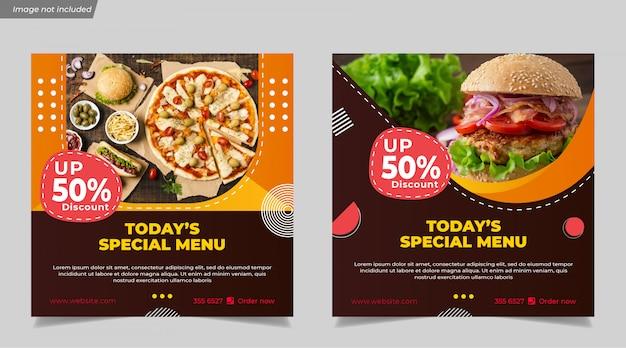 Specjalne Menu Burger Food Dla Szablonu Mediów Społecznościowych Instagram Post Banner Premium Wektorów