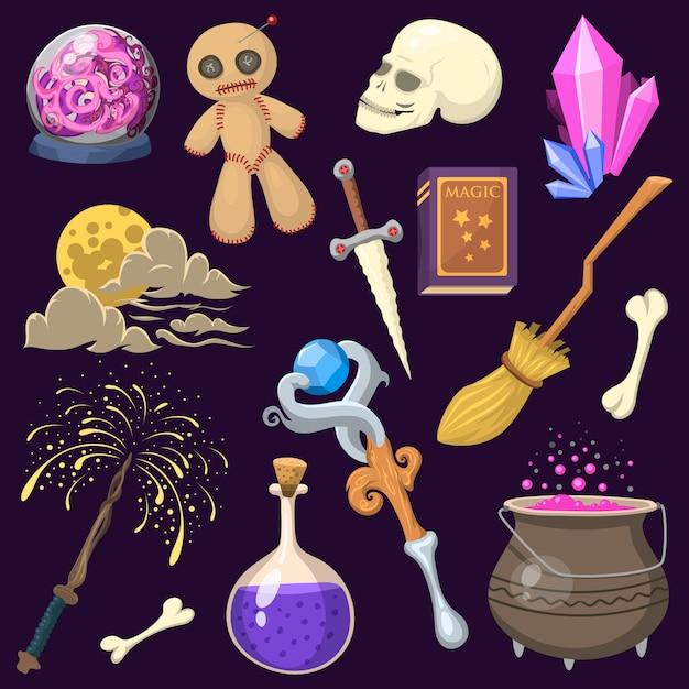 Specjalny Efekt Magiczny Sztuczka Symbol Różdżka Magik I Niespodzianka Rozrywka Fantasy Karnawałowe Tajemnice Narzędzia Kreskówka Cud Dekoracje. Premium Wektorów