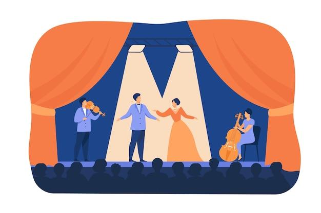 Śpiewacy Operowi Grający Na Scenie Z Muzykami. Artyści Teatralni Ubrani W Kostiumy, Stojąc Pod Reflektorami I śpiewając Przed Publicznością. Ilustracja Kreskówka Płaski Na Dramat, Koncepcja Wydajności Darmowych Wektorów