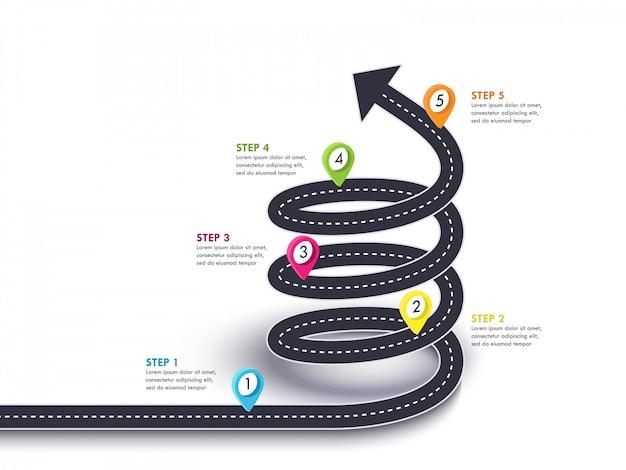 Spiralna strzała droga do sukcesu. podróż i trasa podróży ze wskaźnikiem pinezki i miejscem na dane Premium Wektorów