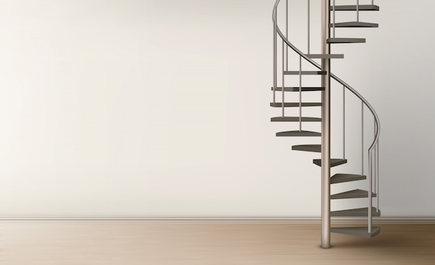 Spiralne schody w pustym wnętrzu domu Darmowych Wektorów
