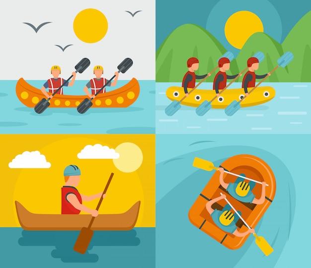 Spływ kajakowy rafting Premium Wektorów