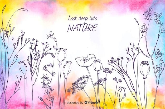 Spójrz głęboko w naturę akwarela tle kwiatów Darmowych Wektorów