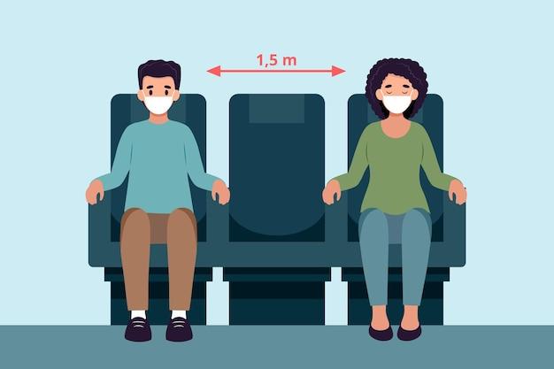 Społeczna Odległość Między Pasażerami Darmowych Wektorów
