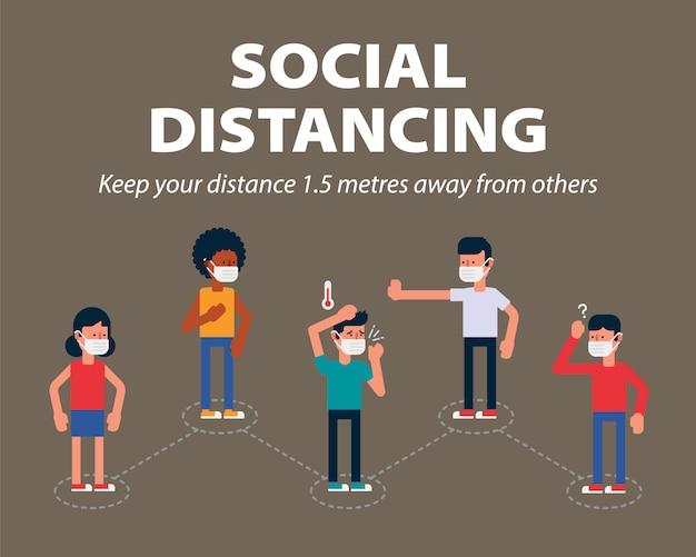 Społeczne Dystansowanie, Trzymaj Publicznie Odległość 1 Metra, Aby Chronić Się Przed Covid-19, Jednym Ze Sposobów Spowolnienia Rozprzestrzeniania Się Koronawirusa Premium Wektorów