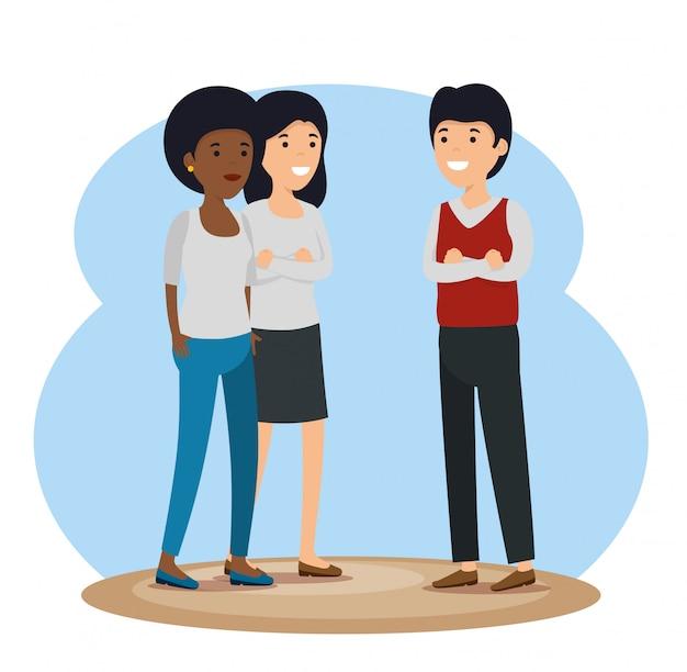 Społeczność Dziewcząt I Chłopców Z Przekazem Społecznościowym Darmowych Wektorów