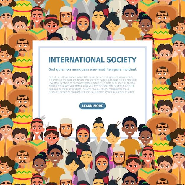 Społeczność międzynarodowa z różnymi wielokulturowymi narodami płci męskiej i żeńskiej. Premium Wektorów