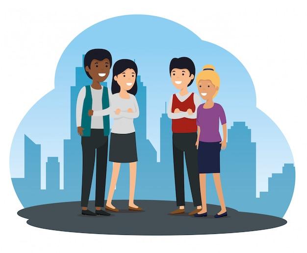 Społeczność społeczna i wiadomość o współpracy znajomych Darmowych Wektorów