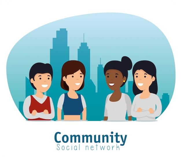 Społeczność Społeczna Przyjaciół Ze Współpracą Przesłania Darmowych Wektorów