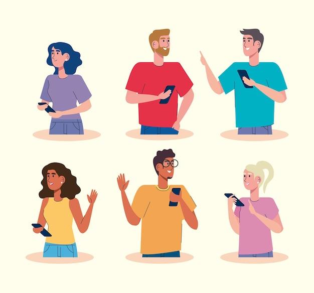 Społeczność Za Pomocą Ilustracji Postaci Awatarów Smartfonów Premium Wektorów