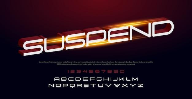 Sport modern italic alphabet font and number. typografia czcionki miejskie ze światłami Premium Wektorów