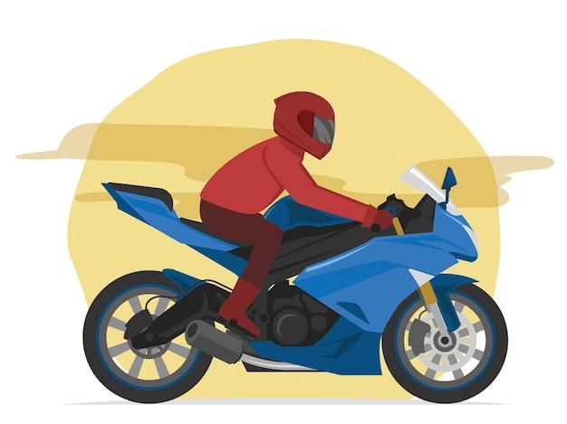 Sport Niebieski Motocyklista Przyspieszenie Na Ulicy Premium Wektorów