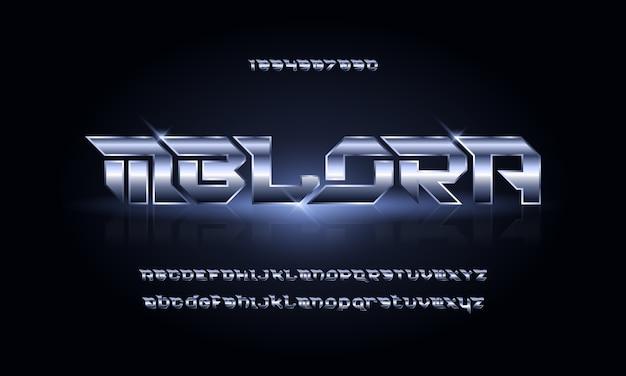 Sport Nowoczesna Futurystyczna Czcionka Alfabetu. Typografia Czcionki W Stylu Miejskim Dla Technologii, Cyfrowych, Projektowania Logo Filmu Premium Wektorów