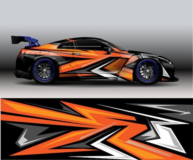 Sport nowoczesna pomarańczowa abstrakcyjna naklejka winylowa tło samochodu - Premium Wektorów