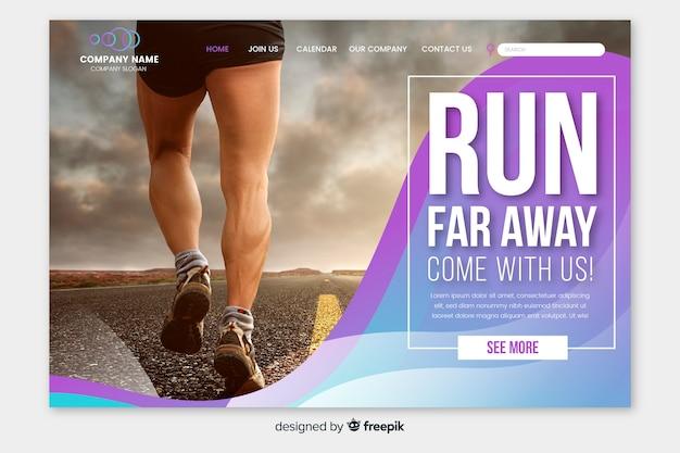 Sportowa strona docelowa ze zdjęciem biegacza Darmowych Wektorów