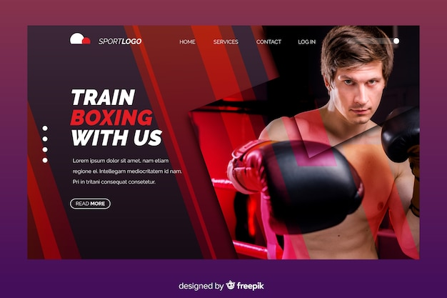 Sportowa strona docelowa ze zdjęciem bokserskim Darmowych Wektorów