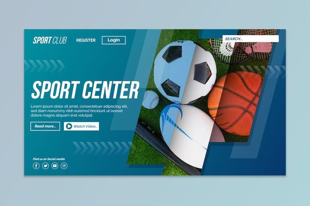 Sportowa strona docelowa ze zdjęciem różnych piłek Darmowych Wektorów