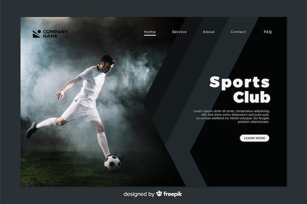 Sportowa strona docelowa ze zdjęciem Darmowych Wektorów