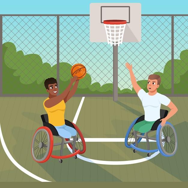 Sportowcy Paraolimpijscy Na Wózkach Inwalidzkich Grający W Piłkę Premium Wektorów