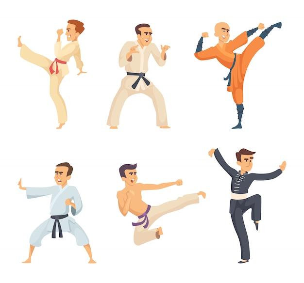Sportowcy W Pozach Akcji. Postaci Z Kreskówek Na Białym Tle. Wektor Sztuki Walki, Ilustracja Karate I Wojownik Walki Premium Wektorów