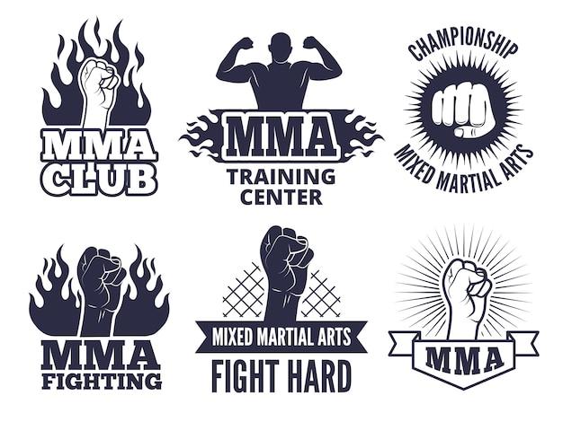 Sportowe etykiety dla wojowników mma Premium Wektorów