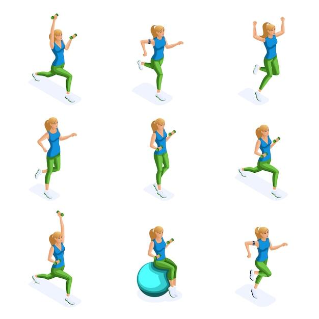 Sportowiec, Zdrowy Styl życia. Wiosenny Obraz Sportsmenki, Odzieży Sportowej, Joggingu, Skoków Premium Wektorów