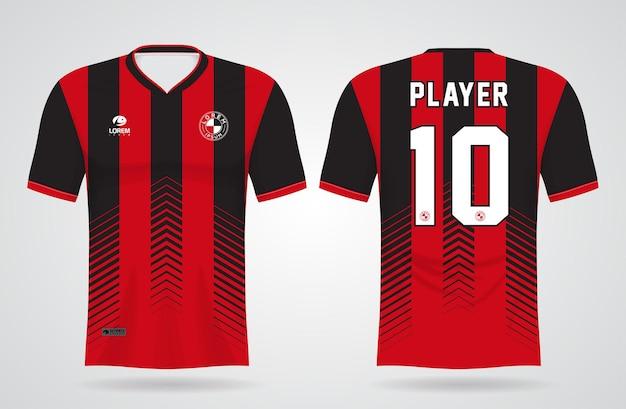 Sportowy Czarno-czerwony Szablon Koszulki Do Strojów Drużynowych I Koszulki Piłkarskiej Premium Wektorów