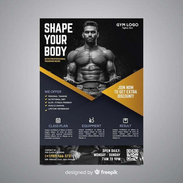 Sportowy plakatowy szablon z fotografią Darmowych Wektorów