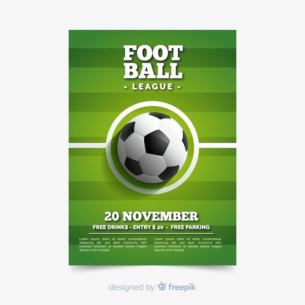 Sportowy Plakatowy Szablon Z Futbolową Piłką Premium Wektorów