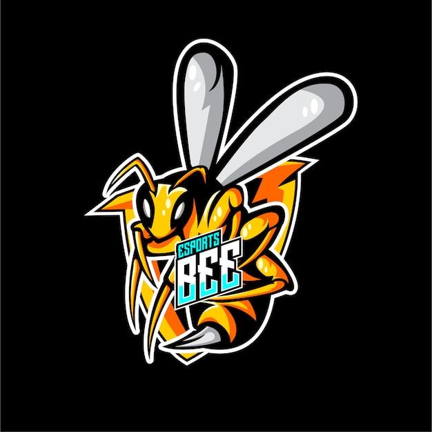 Sportowy styl animals bee logo Premium Wektorów