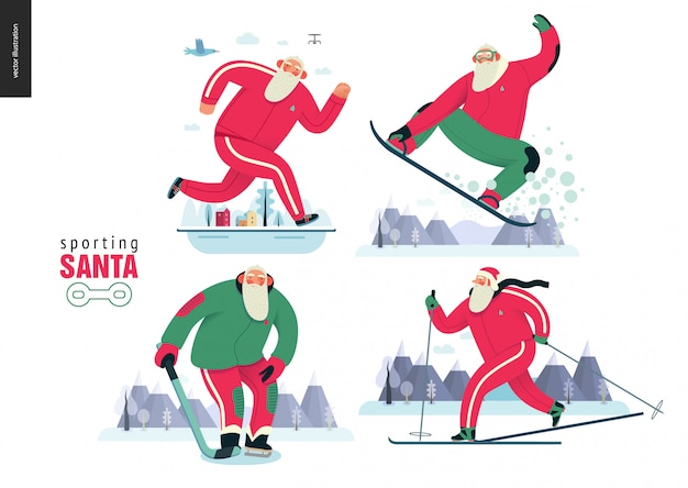 Sportowy święty mikołaj robi zimowe zajęcia na zewnątrz Premium Wektorów