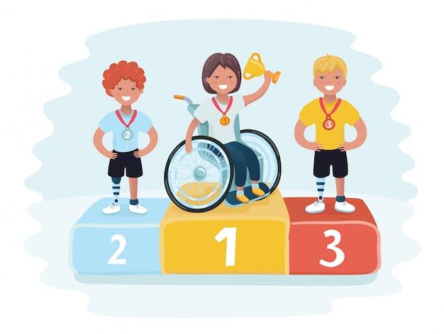 Sporty Izometryczne Dla Osób Niepełnosprawnych. Złote, Srebrne I Brązowe Medale Trofeum Na Podium Z Konfetti. Nagroda Za Pierwsze Miejsce. Premium Wektorów