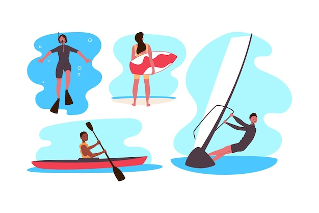 Sporty Wodne Dla Letnich Ludzi Darmowych Wektorów
