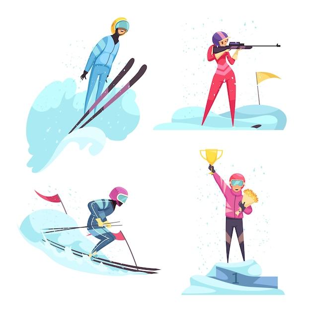 Sporty Zimowe Ikony Ustawiać Z Narciarstwa I Biathlonu Symboli / Lów Mieszkaniem Odizolowywającym Darmowych Wektorów