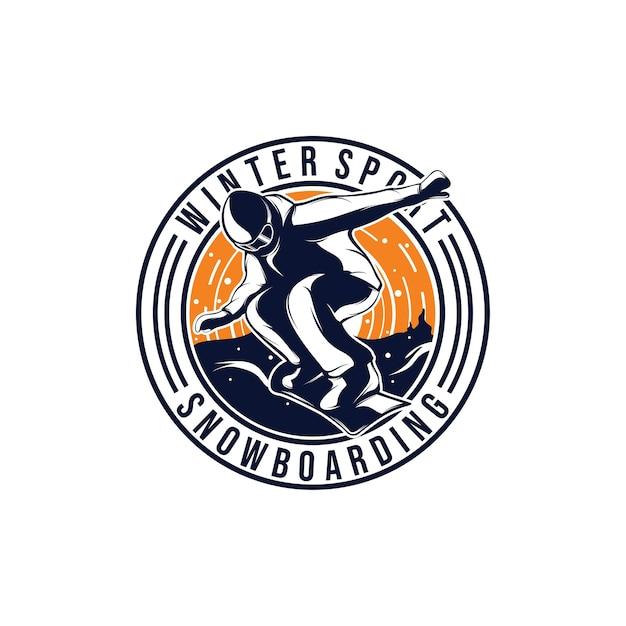 Sporty Zimowe. Projektowanie Logo Snowboardu Premium Wektorów