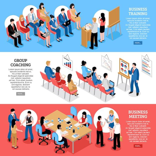 Spotkanie biznesowe izometryczne poziome banery Darmowych Wektorów