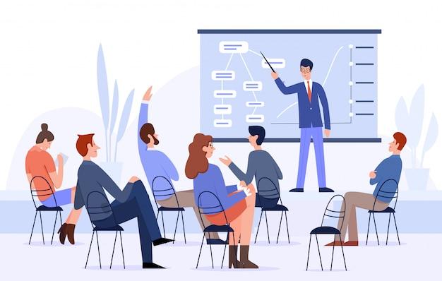 Spotkanie Biznesowe, Ludzie Konferencji Płaskie Ilustracji Wektorowych Premium Wektorów