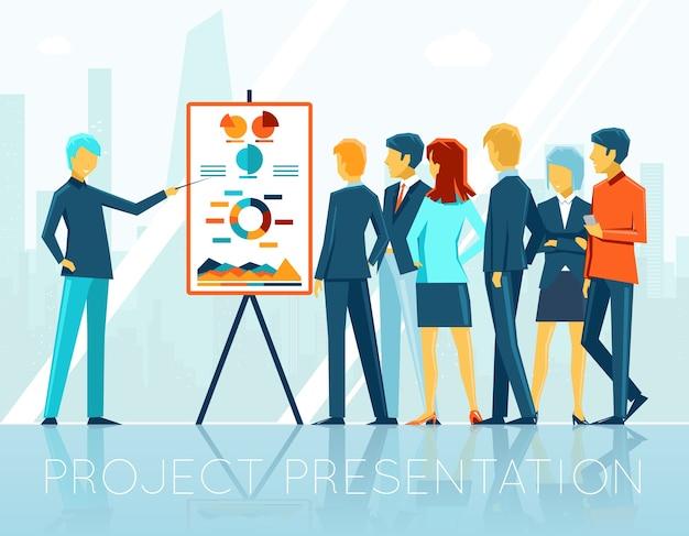 Spotkanie Biznesowe, Prezentacja Projektu. Ludzie I Seminarium Korporacyjne, Zespół I Grupa, Ilustracji Wektorowych Darmowych Wektorów