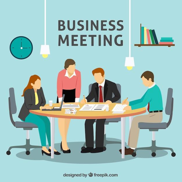 Spotkanie Biznesowe W Biurze Scena Darmowych Wektorów