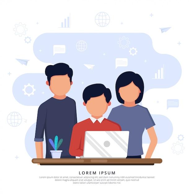 Spotkanie biznesowe za biurkiem z laptopem Premium Wektorów