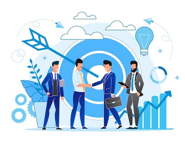 Spotkanie Dotyczące Sytuacji W Biurze Z Partnerami Spotkanie Z Kreskówkami I Młodzieżą W Celu Podpisania Umów Premium Wektorów
