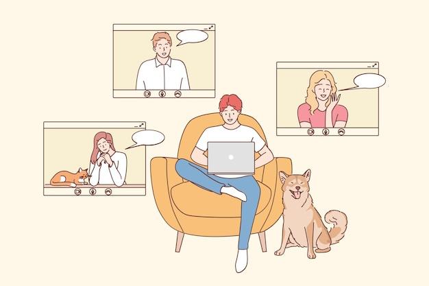 Spotkanie Online, Praca Zdalna, Koncepcja Telekonferencji. Grupa Dla Młodych Uśmiechniętych Ludzi Postaci Z Kreskówek Mających Rozmowę Wideo W Domowym Biurze Premium Wektorów