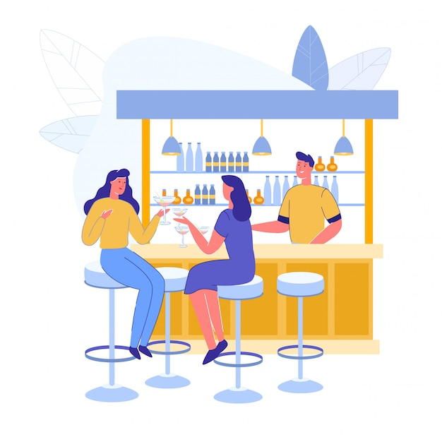 Spotkanie Przyjaciół W Alcohol Bar I Barman Podają Napoje Premium Wektorów
