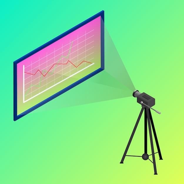 Spotkanie z kamerą projekcyjną izometryczną Premium Wektorów