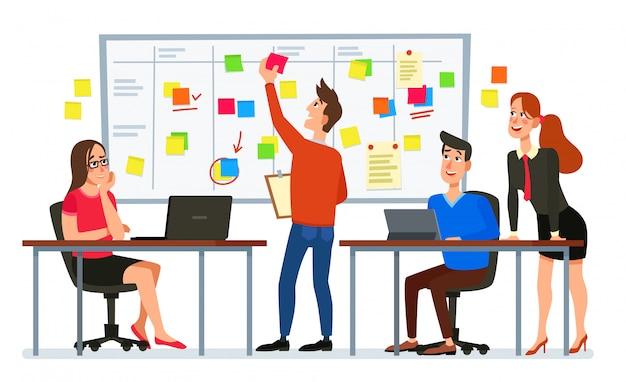Spotkanie Zarządu Scruma. Biznesu Planowania Drużynowe Zadania, Urzędnicy Konferencyjni I Obieg Planu Schematu Blokowego Kreskówki Ilustracja Premium Wektorów